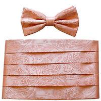 NEW in box 100% polyester paisleys Cummerbund & bowtie set wedding Peach