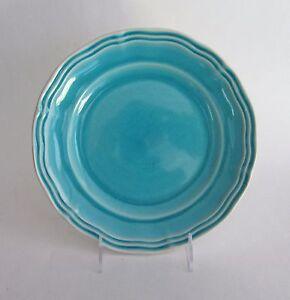 ARTISTIC ACCENTS Crackled Glass Turquoise Aqua Stoneware SALAD PLATES Set 4