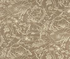Outdoor/ Indoor ~ Upholstery ~ Old South Seas Map ~ Ecru~  Fabric ~ per 1/4 yard