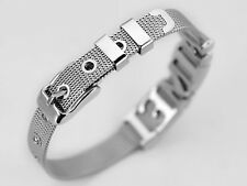 Stainless Steel Mesh Adjustable Wristband Slider Charm Bracelet 8mm With Buckle