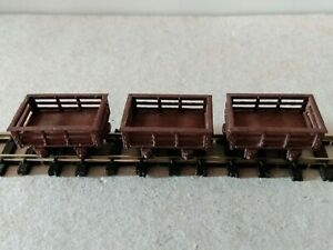 3 OO9 Slate Wagons. Kit built, completed. Brand not known. From 1980s/1990s