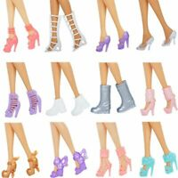 12 Pairs Doll Shoes Fashion Heels Boots Sandals Assorted Barbie Accessories Mix