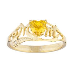 14Kt Gold Yellow Citrine & Diamond Heart Mom Ring