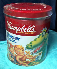 CAMPBELL'S VEGETABLE SOUP ~ DINOSAUR ~ METAL ~ BANK ~ NEW! ~ SEALED ~ FULL