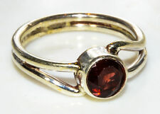 Sterling Silver Traditional Asian Vintage Style Garnet Stone Ring Size N Gift