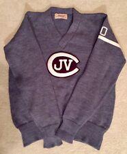 Vintage Mens Logan Knitting Mills Gray Maroon Wool V Neck Collegiate Sweater Euc
