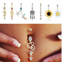 Navel Belly Button Rings Bar Crystal Rhinestone Dangle Body Piercing Jewelry