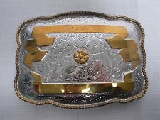 """1980s ALPACA MEXICO SILVER LARGE 5"""" COWBOY RODEO BELT BUCKLE with GOLD RIBBON"""