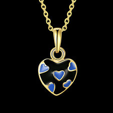 NEW ARRIVAL FASHION GOLD PLATED NECKLACE WITH BLUE HEART PENDANT DESIGN