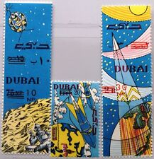 DUBAI 1964 157-59 A-B UNISSUED Space Exploration new currency ovp Rocket MNH
