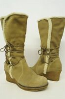 Bare Traps Tan Suede Faux Sherpa Wedge Heels Booties Boots Shoes 8.5M womens#200