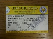 17/02/1999 Ticket: Football League Cup Semi-Final, Leicester City v Sunderland [