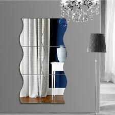 6PCS Modern Wave Removable Home Wall Mirror Sticker Art Vinyl Mural Decor Decals