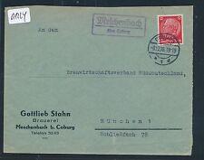 01224) Landpost Ra2 Meschenbach über Coburg, Fa.-Brief Brauerei 1936