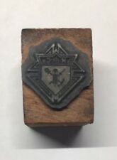Letterpress, Printers Cut, KNIGHTS OF COLUMBUS, CREST, mounted on wood
