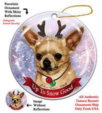 Chihuahua Dog Christmas Holiday Ornament Up To Snow Good