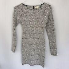 Silence + Noise Women Crew Neck Strech Bodycon Dress /White Black /X Small.