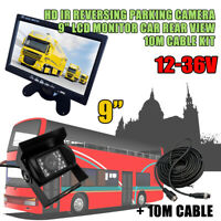 "9"" TFT LCD Monitor Car Rear View + 18 IR LED Reversing CCD Camera Kit Waterproof"