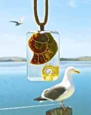 Ancient Ammonite Positive Energy Orgone Pendant with Gold Spiral.