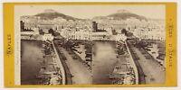 Napoli Vista Prise Del Mole Italia Foto Stereo Th1L6n2 Vintage Albumina c1869