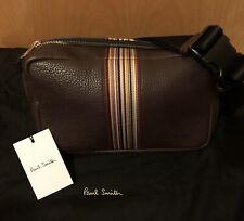 New Paul Smith Signature Stripe Damson Pebble Leather Crossbody Bum Bag Belt Bag