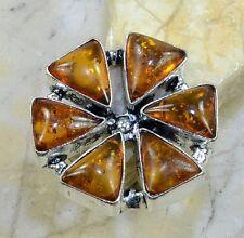 Baltic Orange Amber Gemstone Pure 925 Sterling Silver Rings Size: 7.5 B18616