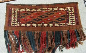 Vintage Yomut Turkmen Torba Nice Weave Colors and Condition. 20th century.