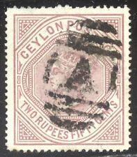 Ceylon #82 Scarce Used - 1879 2r50c Lilac ($425)