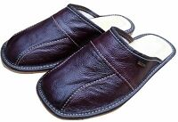 Mens Leather Slippers House Shoes Sandals Slip On Mules Red Brown Size 6-11 UK