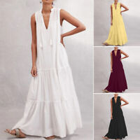 ZANZEA Women Sleeveless Low Cut Summer Tank Dress Tassels Long Maxi Dress Plus