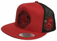 JALISCO MEXICO LOGO FEDERAL HAT 2 LOGOS MESH TRUCKER BLACK RED SNAP BACK
