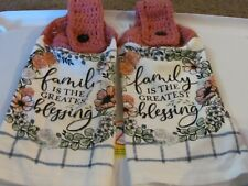 New listing 2 Hand Crocheted Hanging Kitchen Towels Family Is The Greatest Blessing Wreath