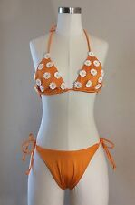 GUESS String Bikini Swimsuit 2 Piece Orange with Daisies Size 9/10