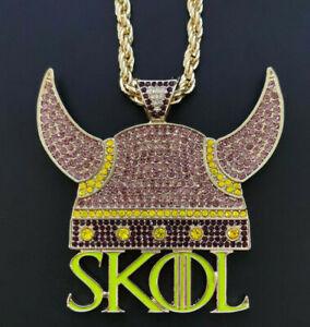 Minnesota Vikings SKOL Football Team Necklace V-Neck Pendant Souvenir - 60 Cm