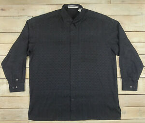 JHANE BARNES Geometric Button Down 3/4 Sleeve Black Silk Shirt Fits XXL