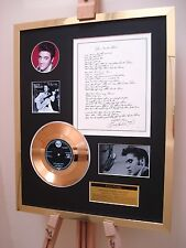 "ELVIS PRESLEY BLUE SUEDE SHOES GOLD DISC 7"" RECORD + ORIGINAL HANDWRITTEN LYRICS"