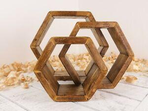Handmade  Wooden Hexagon Shelves Old Pine Wax Finish Set Of 3 Wooden Shelves.
