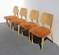 Vintage Set of Four Mid Century Modern Chairs with Orange Velvet Upholstery