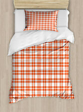 Classic Plaid Duvet Cover Set Twin Queen King Sizes with Pillow Shams