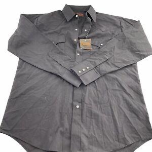 Plains Western Wear Long Sleeve Pearl Snap Button Down Black