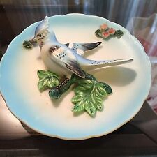 Vintage Lefton's Lefton Bird Decorative Plate Blue Jay Japan 3-D