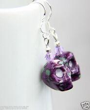 Rockabilly Purple pattern Ceramic Skull Earrings  Handmade