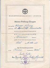 Meister-Prüfungs-Zeugnis Handwerkskammer Lübeck Friseur Meisterbrief 1951 rar