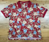 Vintage 90s LL Bean Floral Polo Shirt Men's Size XL TALL Red Yellow Floral Print