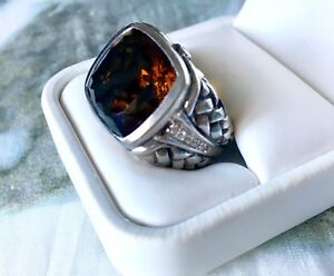 SCOTT KAY Smoky Topaz and Diamond Sterling Silver Ring, Approx Size 6.5, NWOT