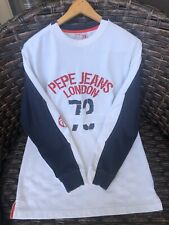 Pepe Jeans Mens Long Sleeve T-Shirt iconic Embroidered Logo Spelled Out Size S