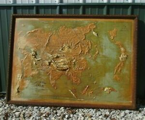 Antique Relief Map Asia 1913 Edition, Atlas Relief Map Co Chicago, Vintage Map,