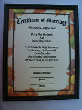 PERSONALIZED FALL Autumn Leaves Marriage Certificate Wedding Leaf