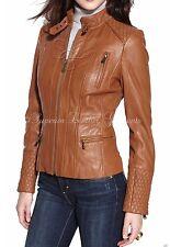 New Vintage Women Tan Slim Fit Biker Motorcycle Soft Leather Zipper Jacket Coat
