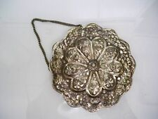VINTAGE NECO 900 SILVER HANGING MIRROR MARKED 900 FLOWER DESIGN